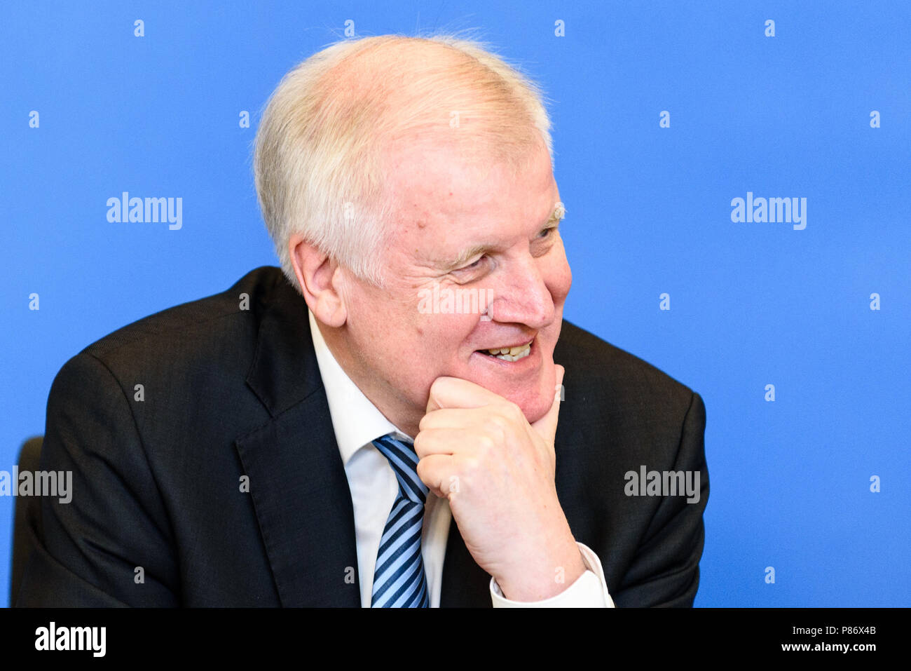 Berlin, Germany. 10th July, 2018. German Federal Minister of Interior, Construction and Homeland, Horst Seehofer of the Christian Social Union (CSU) during the presentation of the ''Masterplan Migration - Measures to Organize, Control and Limit Immigration.'' The plan includes stopping and rejecting migrants who are already registered in other EU countries at the German border. Credit: Markus Heine/SOPA Images/ZUMA Wire/Alamy Live News - Stock Image