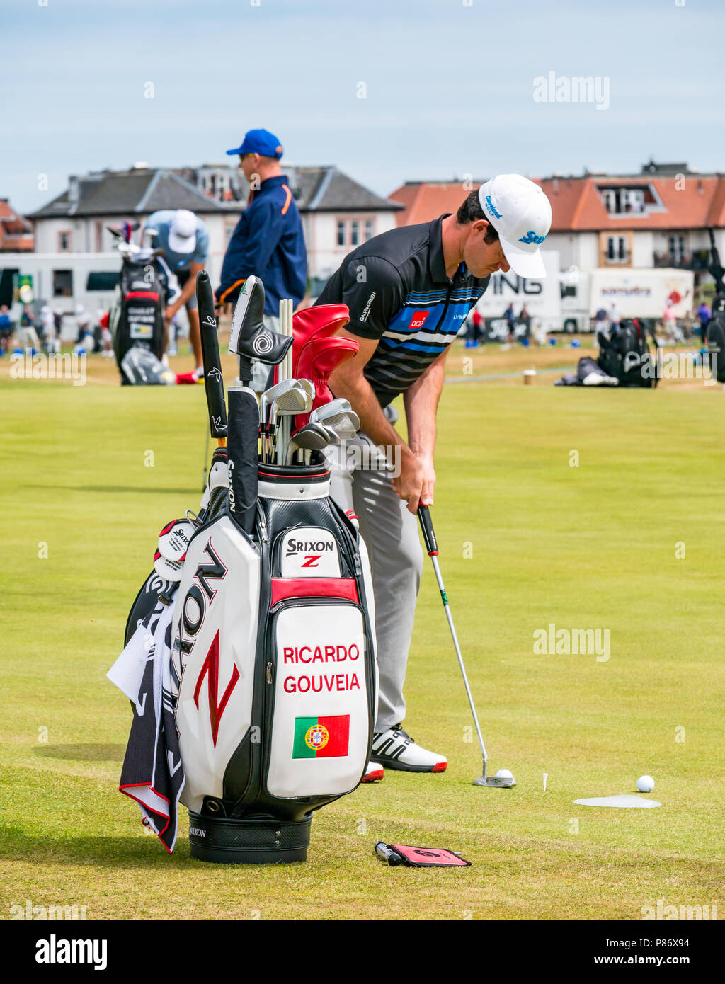 Gullane, UK. 10th July 2018. Aberdeen Standard Investments Scottish Open Golf Championship final preparations, Gullane, East Lothian, Scotland, United Kingdom, 10th July 2018. The final stages of preparations in progress for the 5th European Tour Rolex Series at Gullane Golf Course in preparation for the start of the open championship from 12th to 15th July. Golfers practising on the putting green. Ricardo Gouveia, Portuguese professional golfer - Stock Image