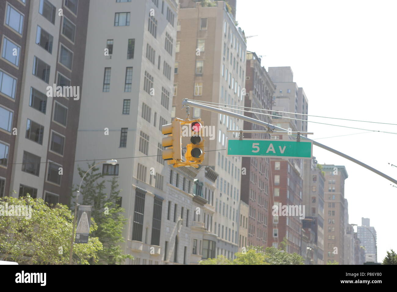red traffic light on the 5th avenue in new-york - Stock Image