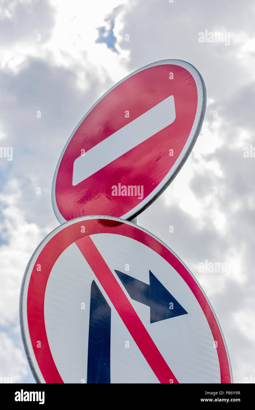 No Right Turn Sign and no drive sign - Stock Image