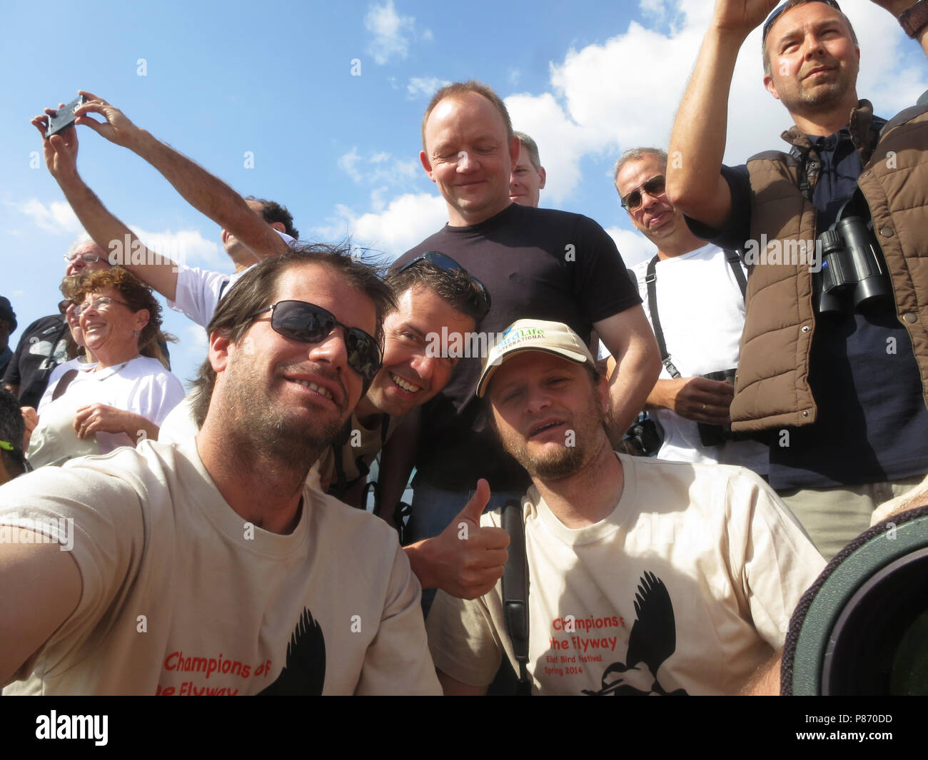 Team Focusing on Wildlife Sprinters, Champions of the Flyway, Eilat, 2014 - Stock Image