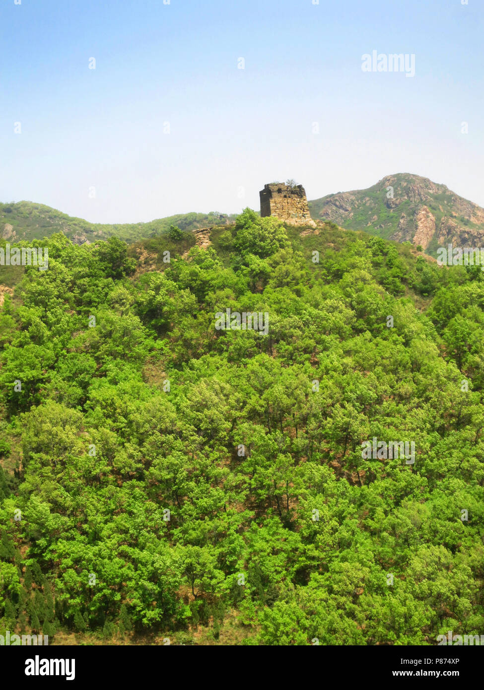 Chinese muur; Great Wall, Hebei province, China - Stock Image