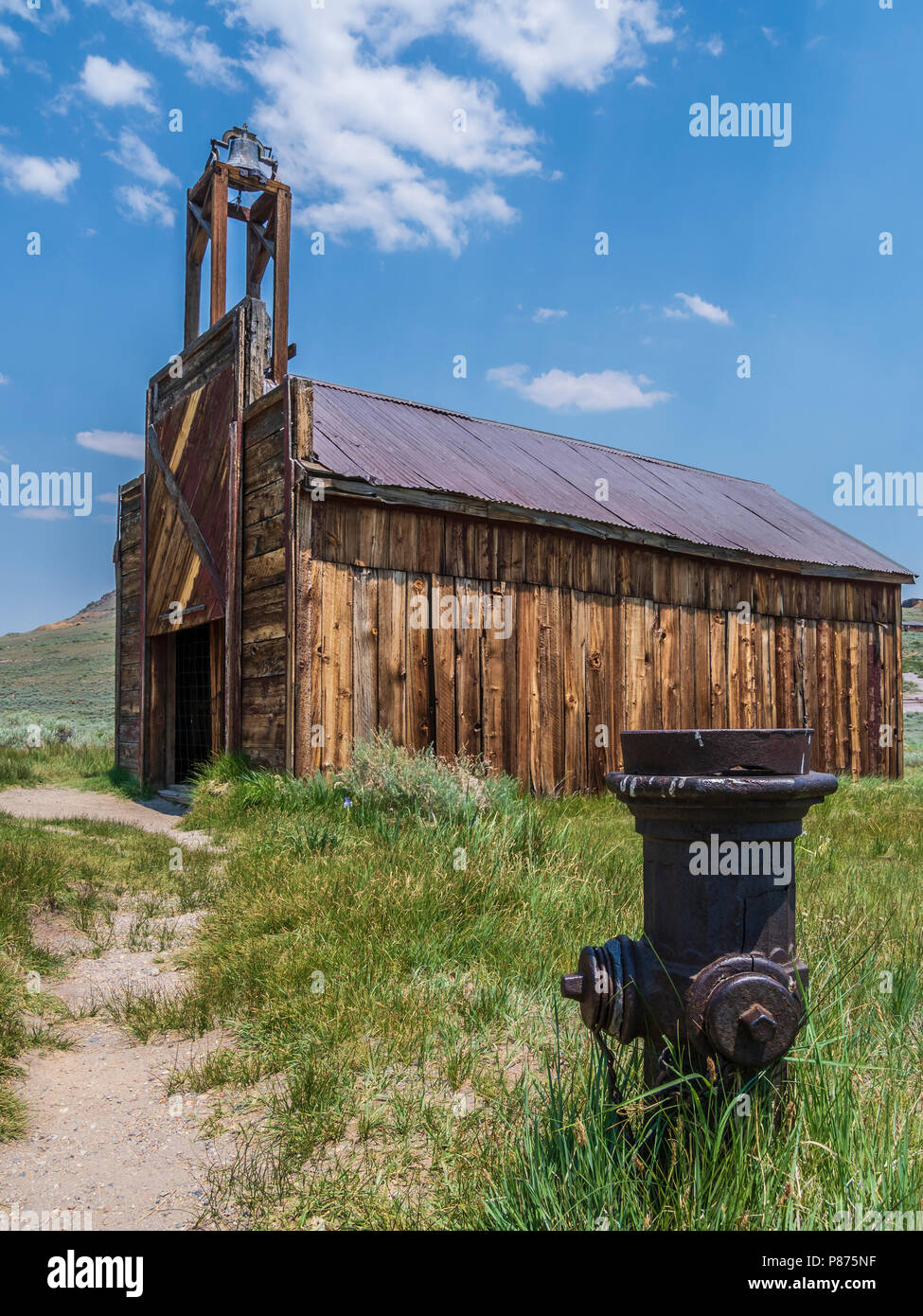 Fire hydrant near Firehouse, Bodie ghost town, Bodie State Historic Park, California. - Stock Image