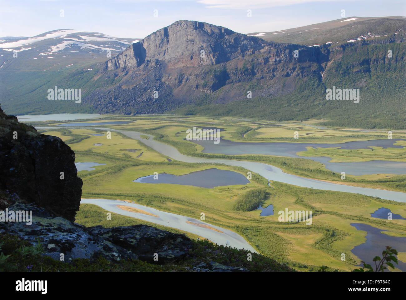 The Beauty of Northern Sweden - Rapaätno delta. Sarek, Northern Sweden. Stock Photo