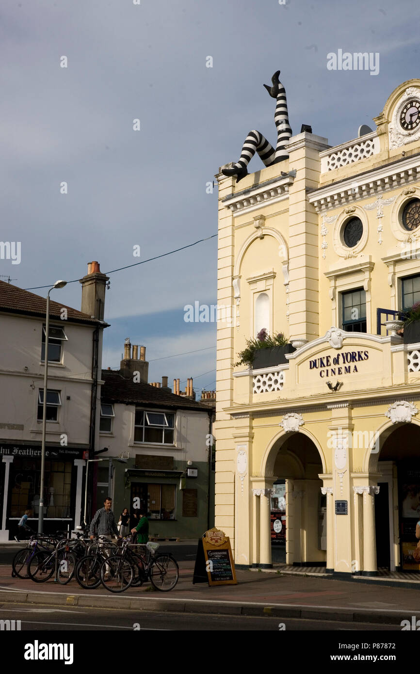 The Duke of York's Picturehouse, the oldest cinema in continuous use in Britain, with legs attached, Preston Circus, Brighton, East Sussex, England - Stock Image
