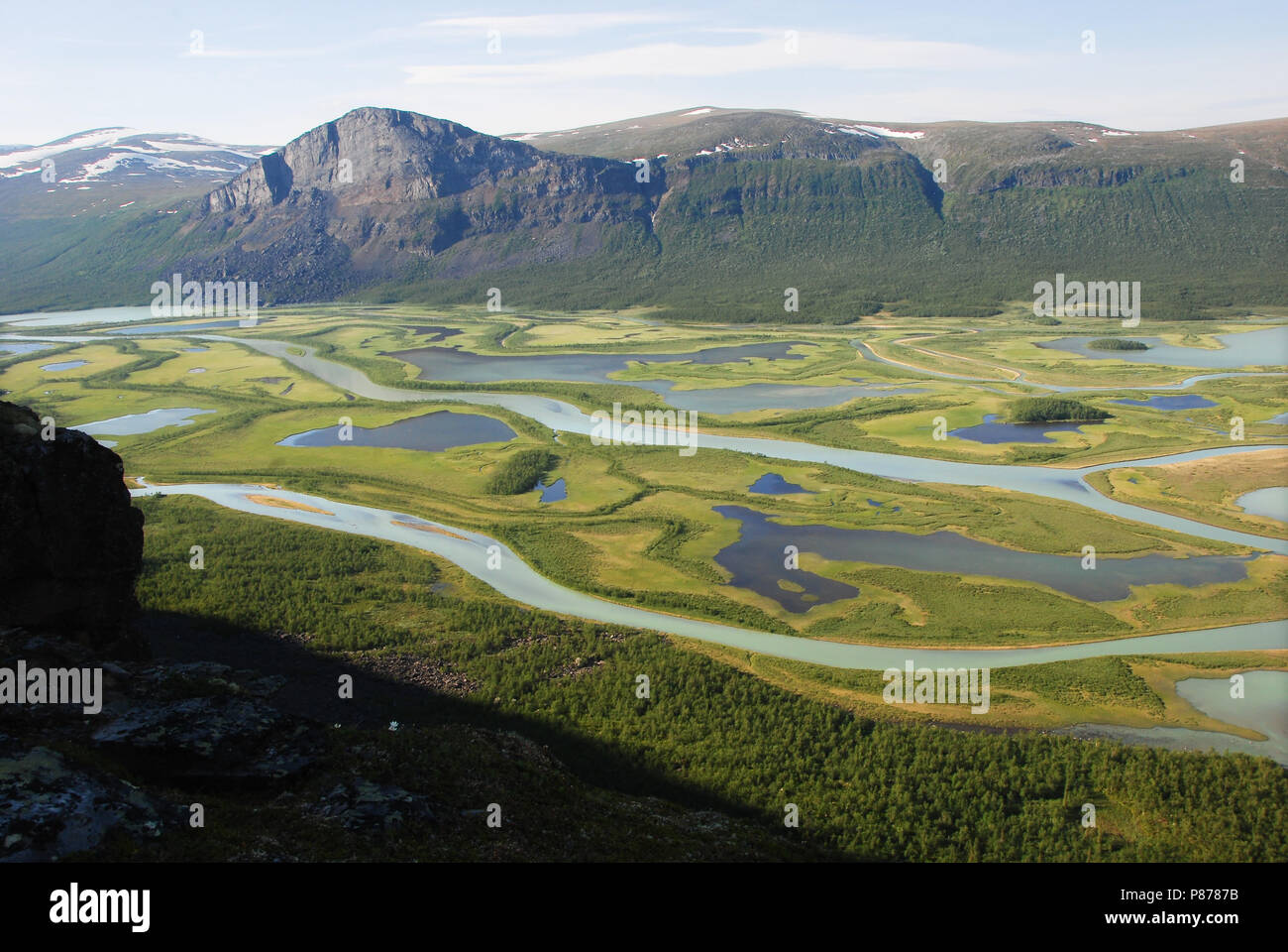 Skierfe and Rapaätno delta. The beauty of Northern Sweden Stock Photo