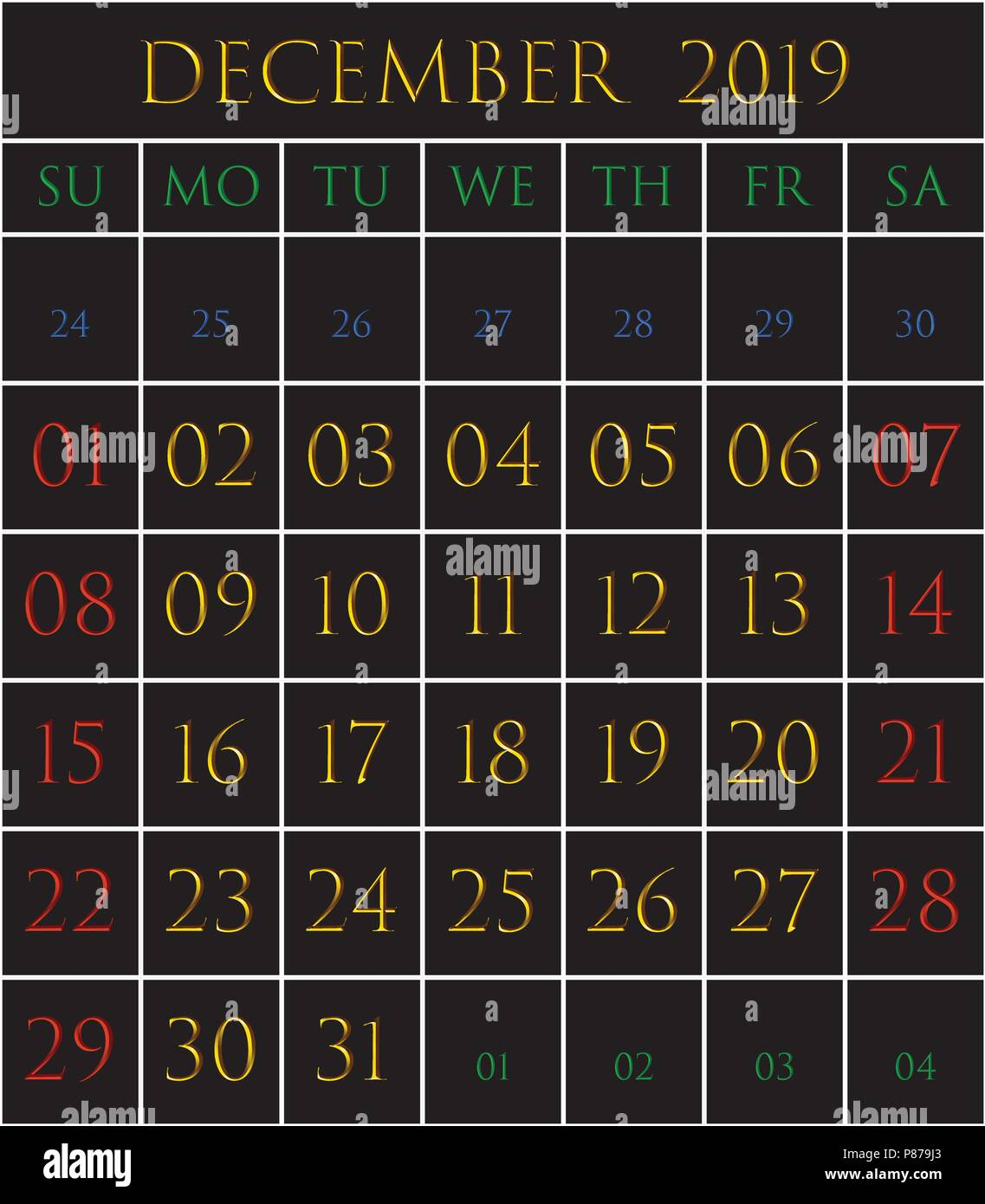 2019 calendar for the month of october on black background stock