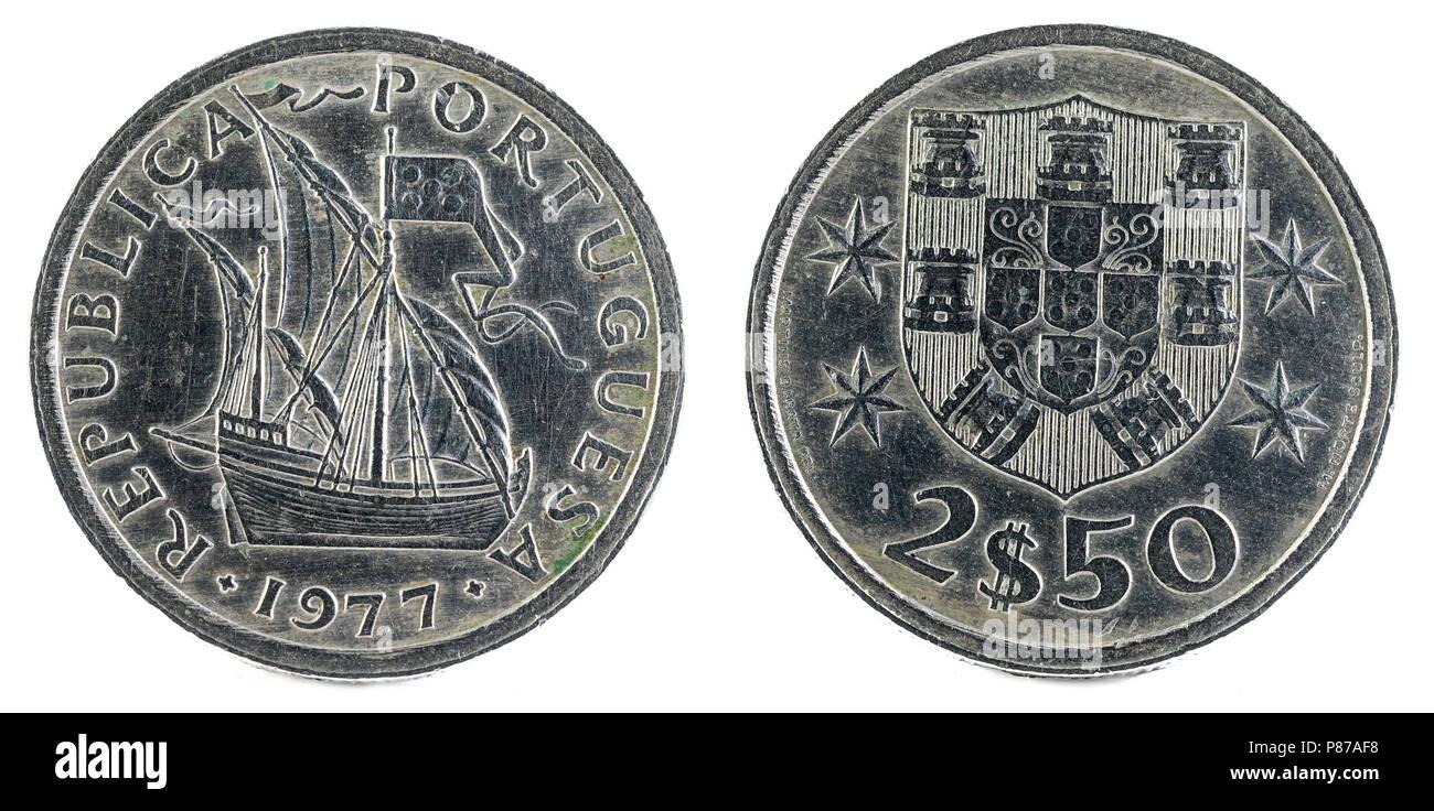 Old Portuguese coin. 2$50 Escudos. 1977. - Stock Image