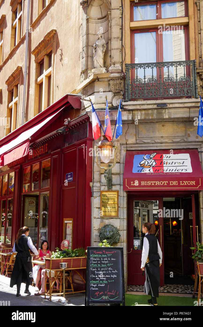 Le bistrot de Lyon, Traditional Food restaurant in Lyon, France - Stock Image