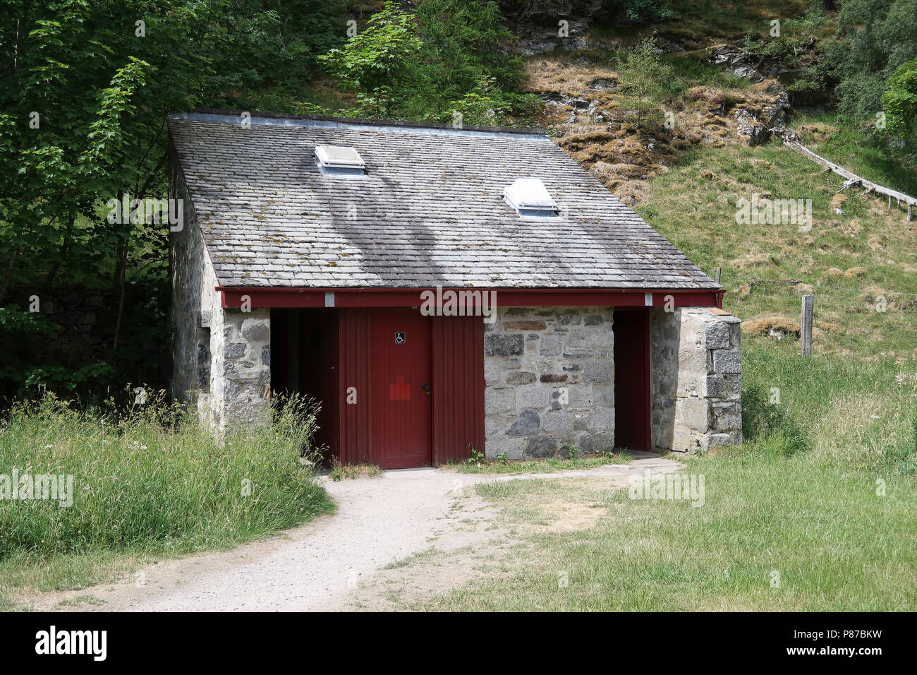Public toilets at Loch an Eilein visitor centre - Stock Image