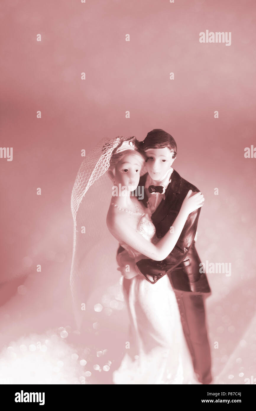 Wedding couple marriage cake topper plastic figures with tuxedo ...