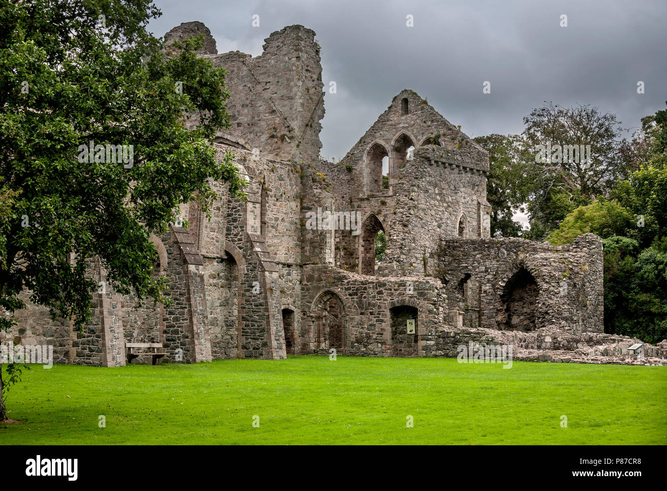 Grey Abbey Cistercian monastery on Strangford Lough, County Down Northern Ireland - Stock Image