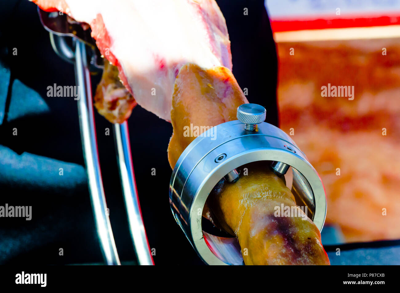 leg jamon serrano prepared for slicing, traditional Spanish ham, meat - Stock Image