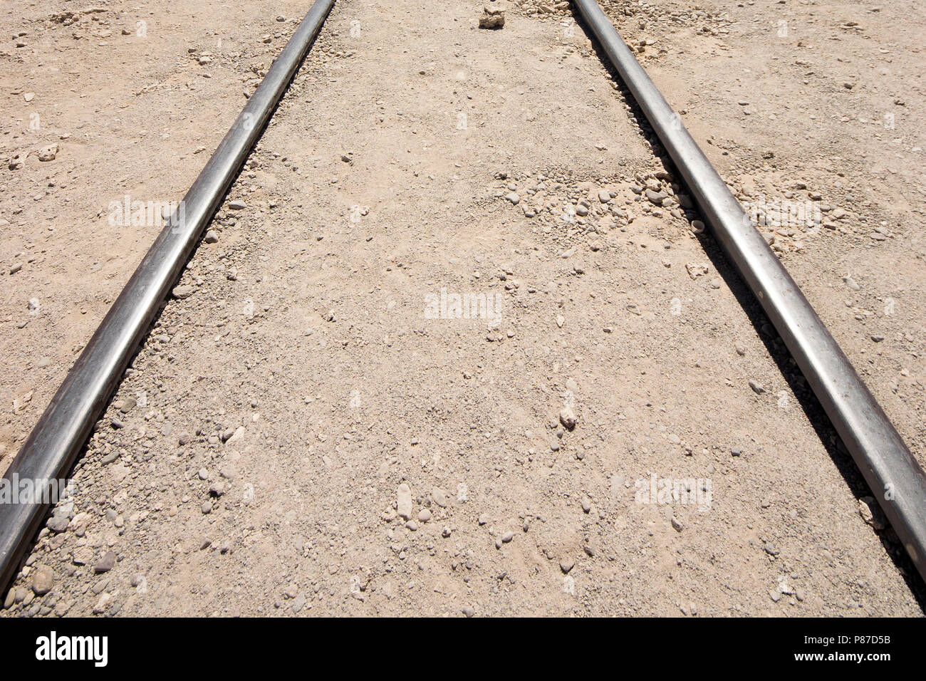 Abandoned rail tracks, as simple as they can be. - Stock Image