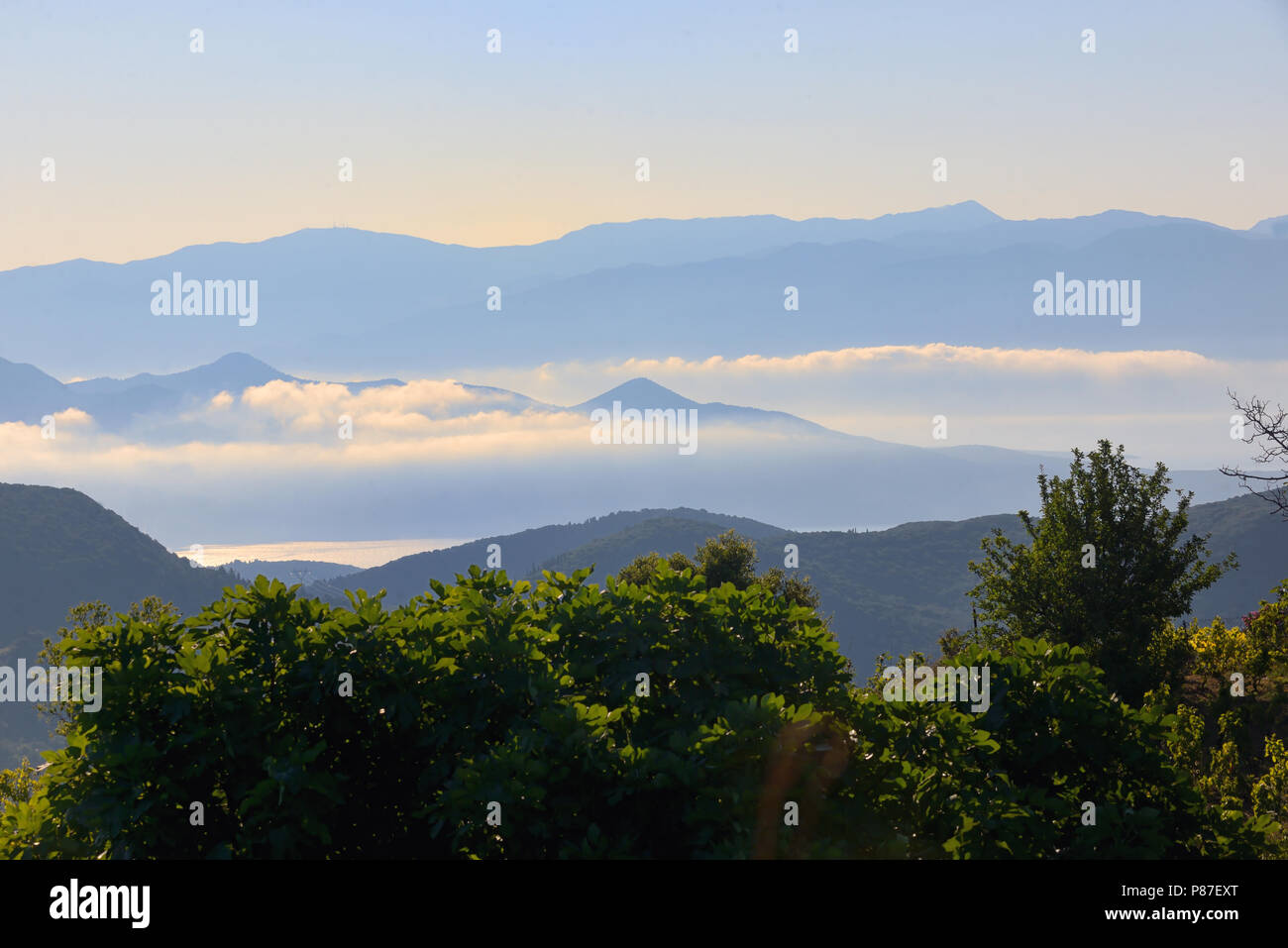 Small islands in the Ionian sea in Lefkada, Greece - Stock Image