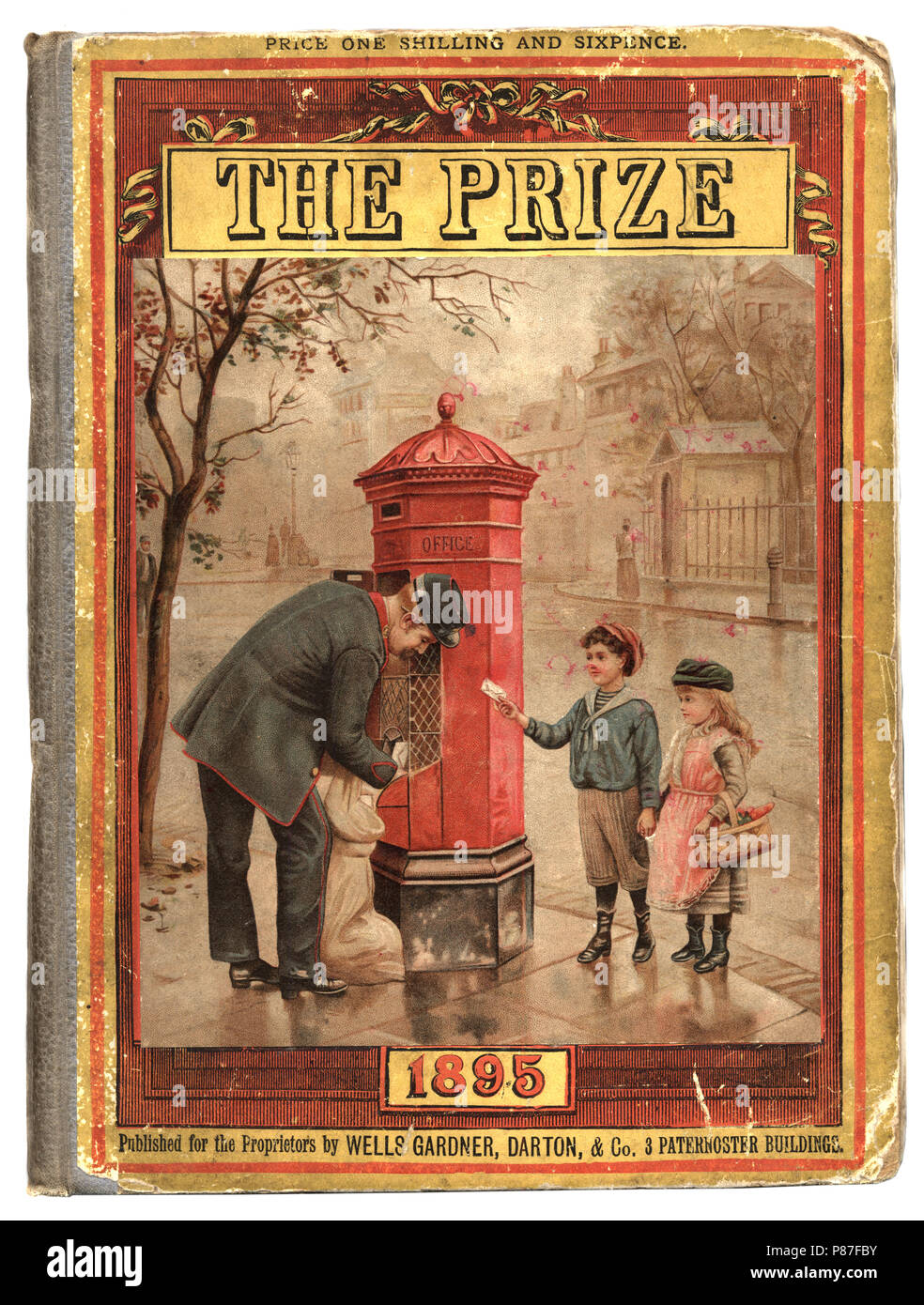 Front cover of the victorian childrens magazine The Prize, Postman collecting the mail - Stock Image