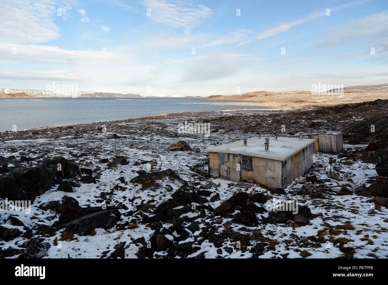 Rijpfjorden, Nordaustlandet, Svalbard. German meterological station of Operation Swashbuckler - Unternehmen Haudegen - during the Second World War - Stock Image