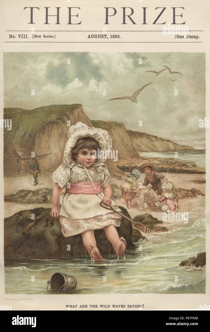 Cover of the Victorian magazine The Prize, Girl playing at seaside while on holiday - Stock Image