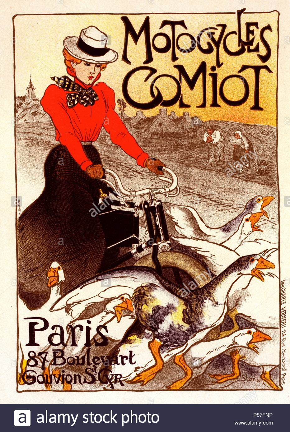 Poster for Motocycles Comiot. Théophile Alexandre Steinlen, frequently referred to as just Steinlen 1859 – 1923, a Swiss-born French Art Nouveau painter and printmaker. - Stock Image