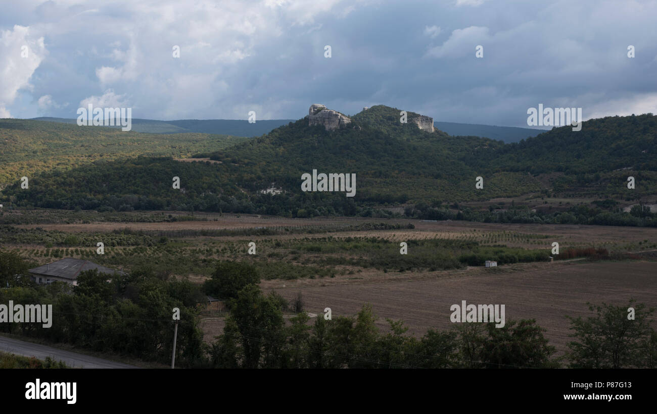 hills with a valley and the clouds Stock Photo