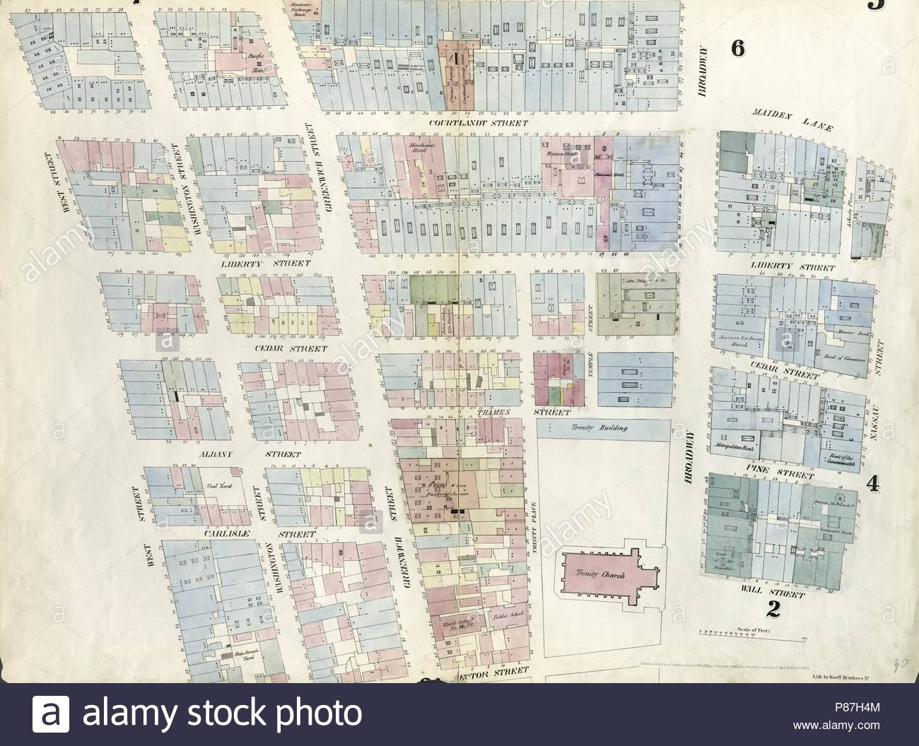 Plate 3 Map Bounded By Dey Street Broadway Maiden Lane Nassau