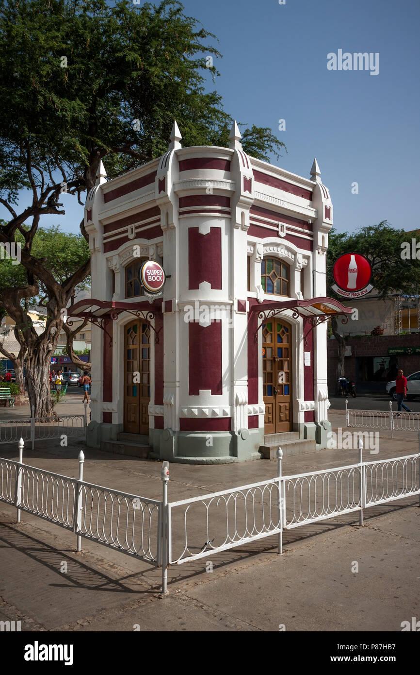 MINDELO, CAPE VERDE - DECEMBER 07, 2015: White Red Kiosk Cafe building at Amilcar Cabral Square, Praca Nova Stock Photo