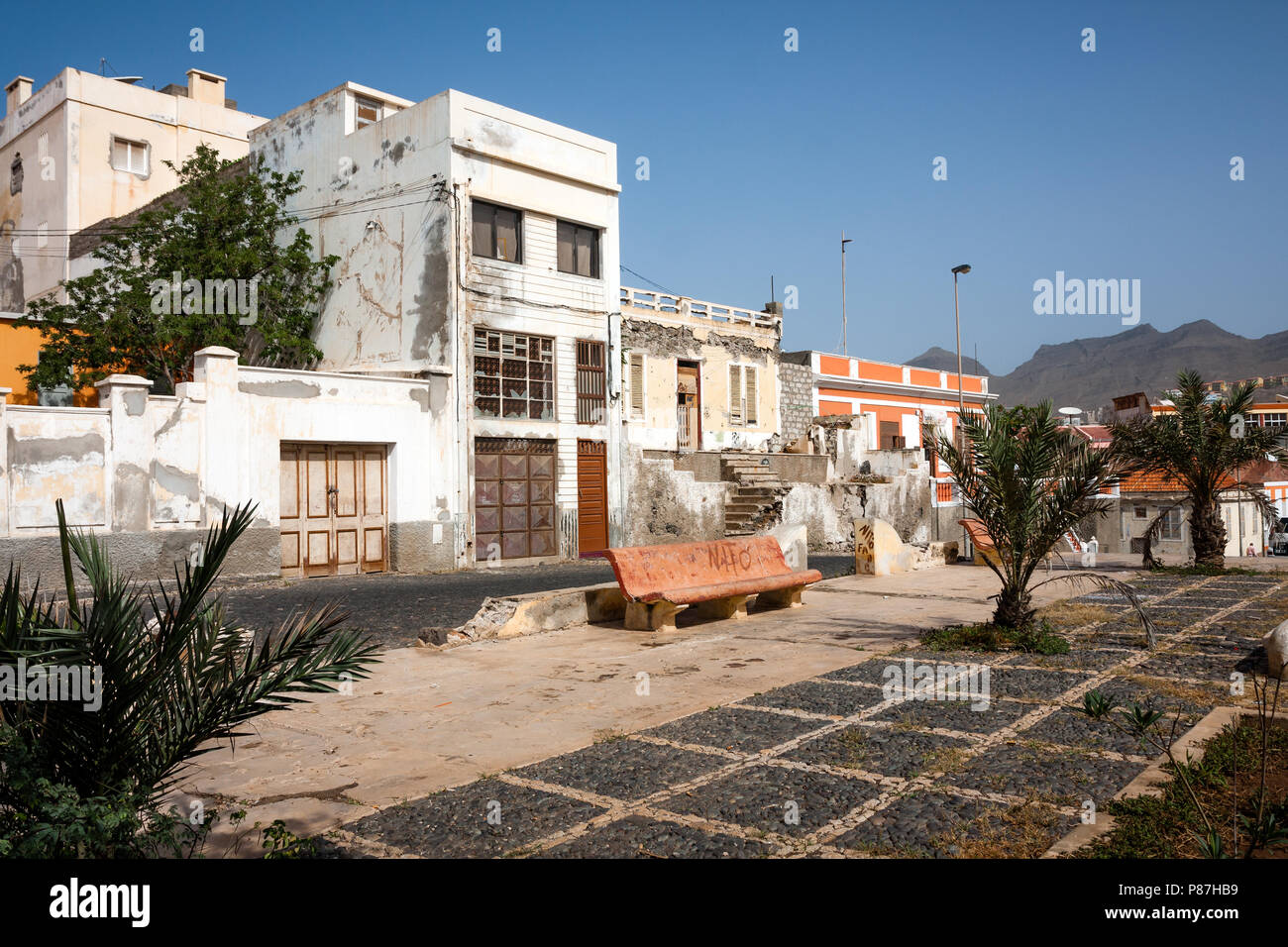 MINDELO, CAPE VERDE - DECEMBER 07, 2015: Abandoned buildings, scenic ruins in the middle of Mindelo City Stock Photo
