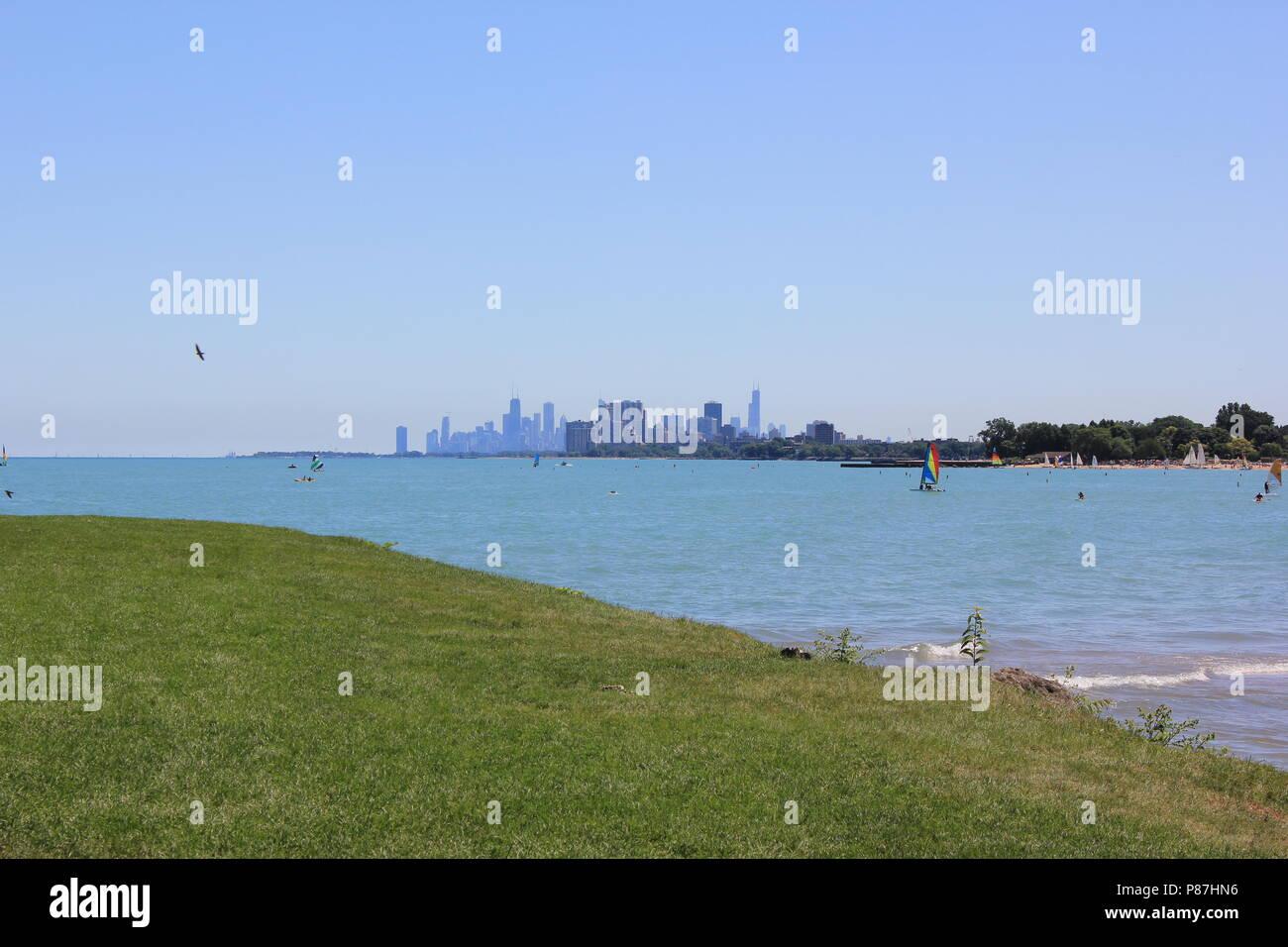 Northwestern University Park on the Lake in Evanston, Illinois on a beautiful sunny summer day. - Stock Image