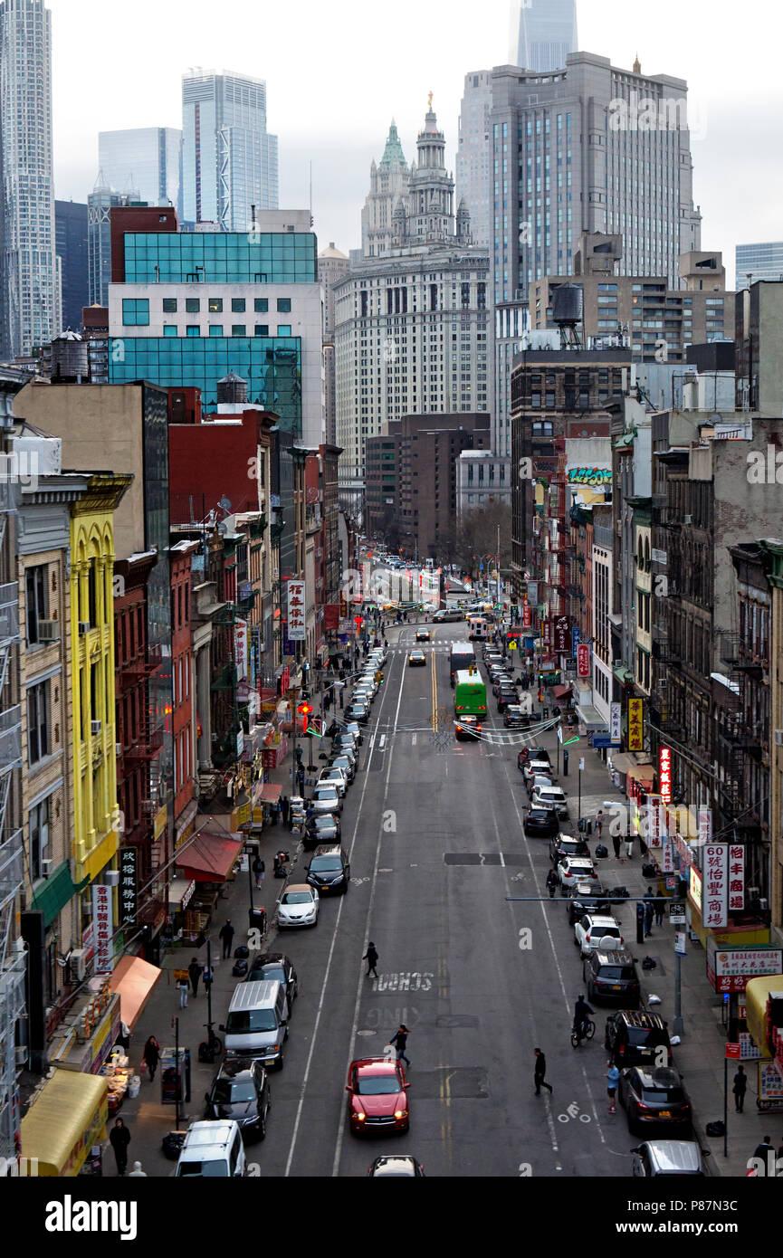 New York, NY / USA - 04.14.2018:  Chinatown Street in Manhattan New York city topview Stock Photo