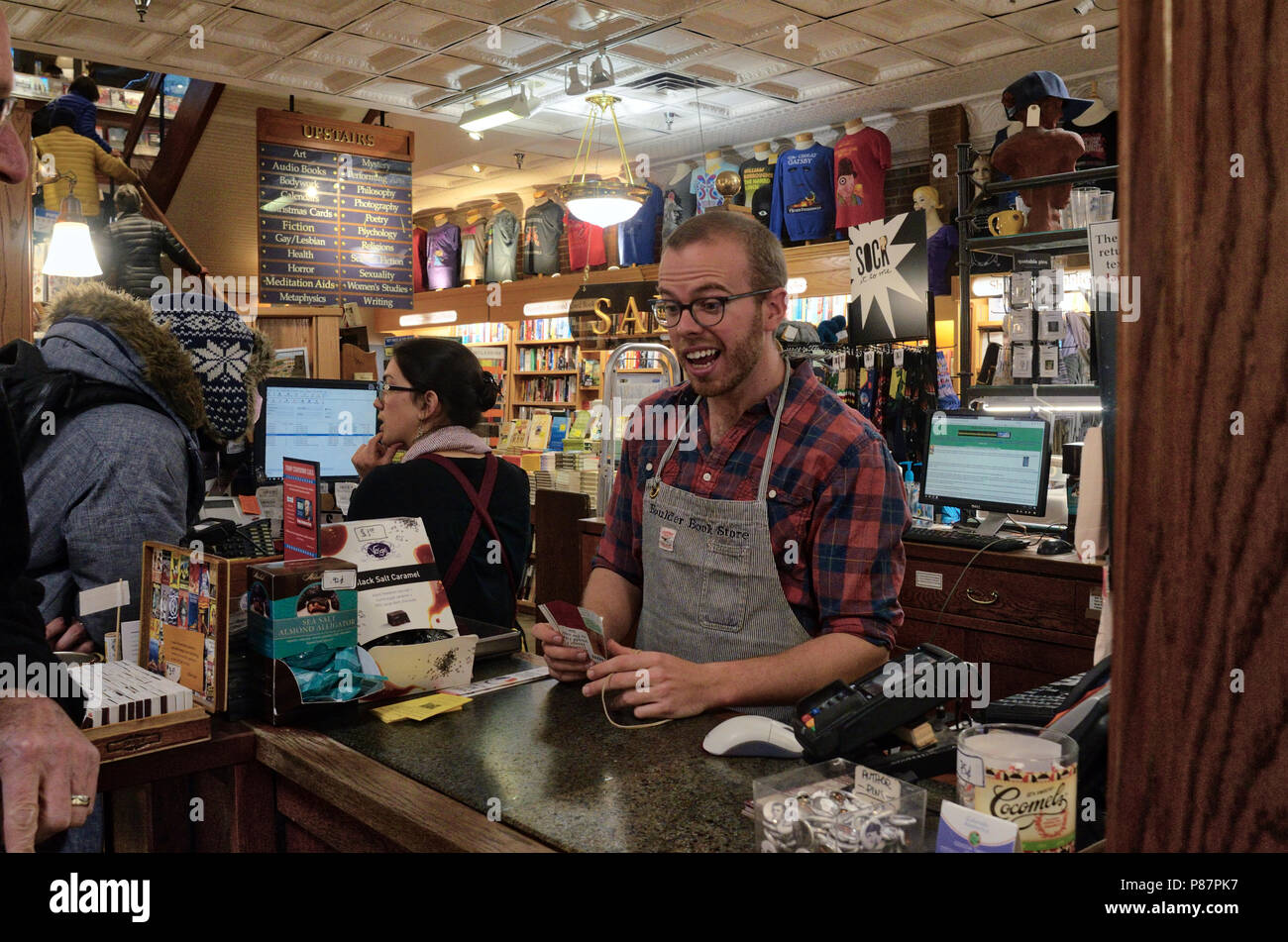 The Boulder Book Store was founded in 1973 by David Bolduc.  It currently is located at 1107 Pearl St. and was named Publishers Weekly's 2018  Booksto - Stock Image