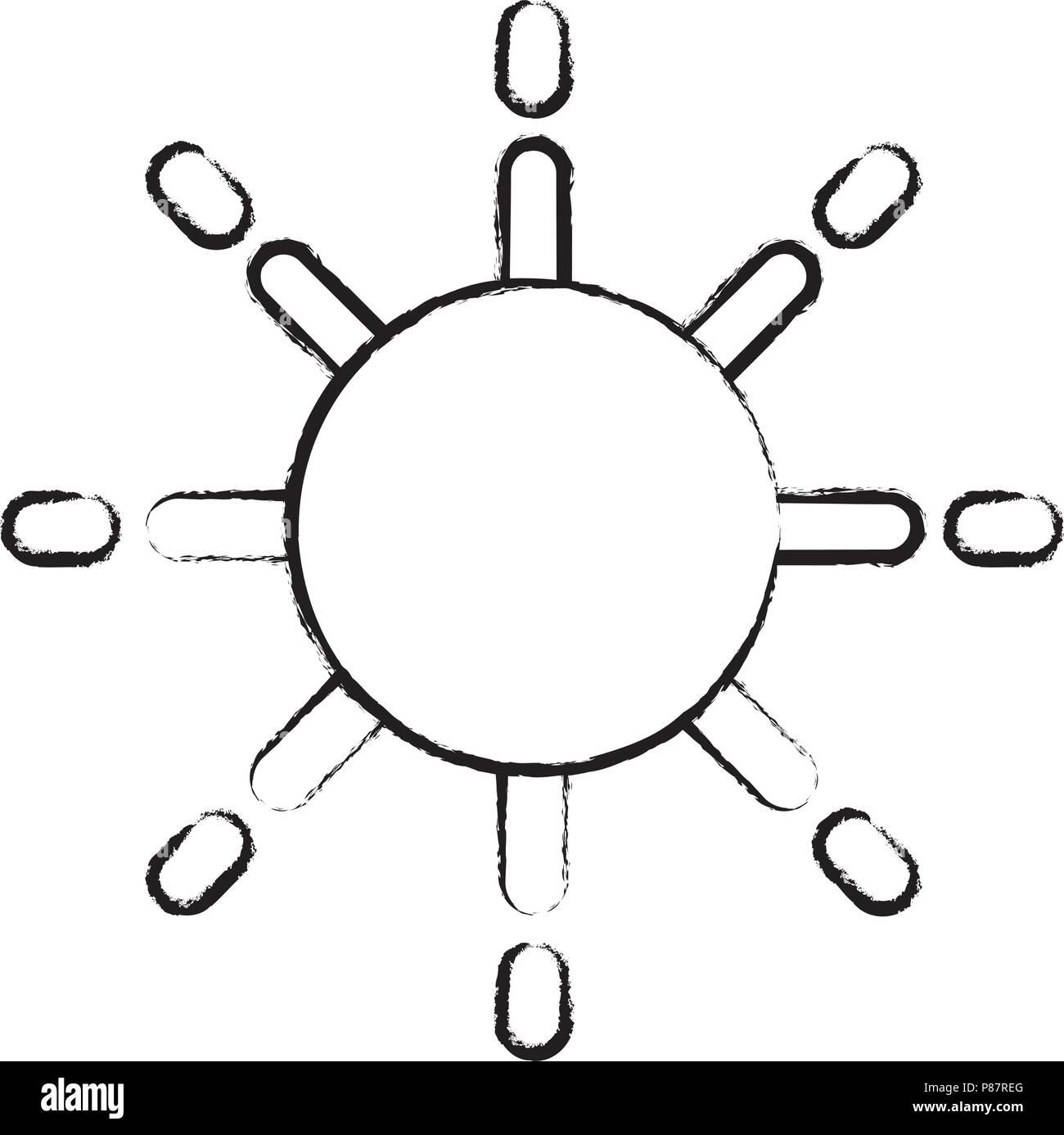 sun icon over white background, vector illustration - Stock Image