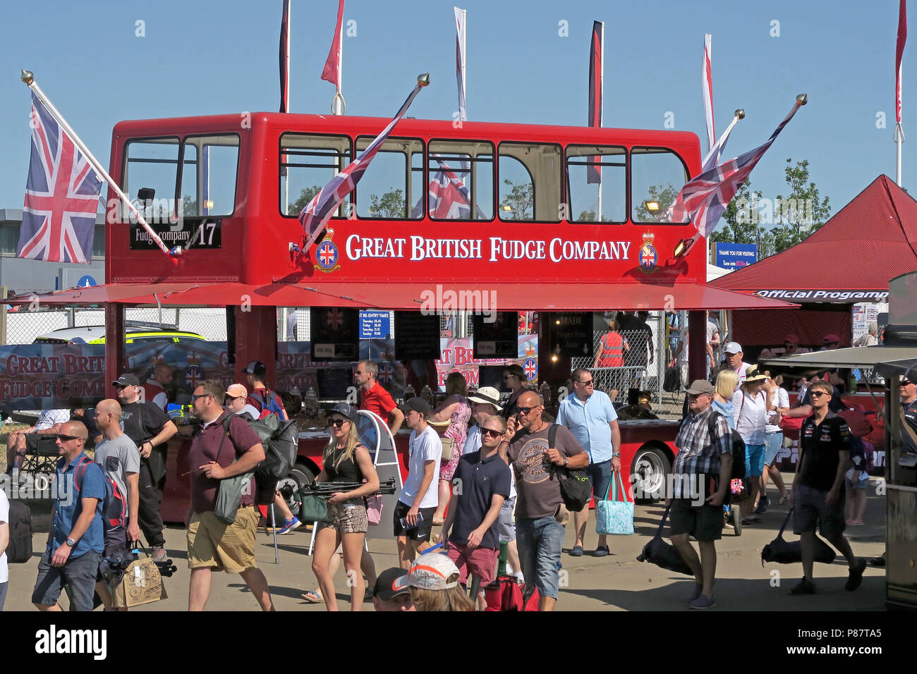 The Great British Fudge Company red bus sweet shop, Silverstone, England, UK - Stock Image