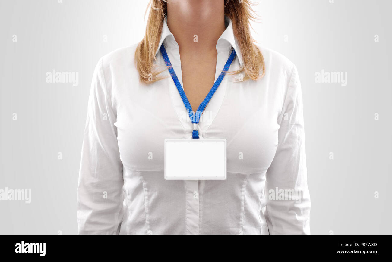 Woman wear blank white horizontal badge mockup, stand ...