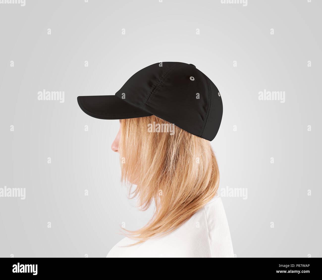 d0d2c0921bba3 Blank black baseball cap mockup template