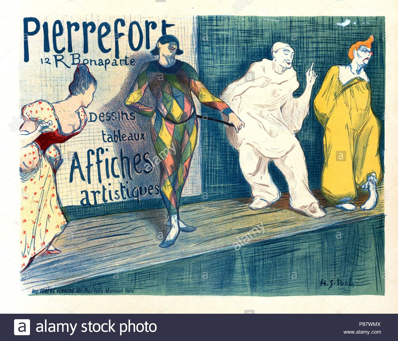 Poster for Posters artistiques Pierrefort. Ibels, Henry Gabriel 1867-1936, French illustrator, printmaker, painter and author.He studied at the Académie Julian with Pierre Bonnard and Édouard Vuillard and was a member of Les. - Stock Image