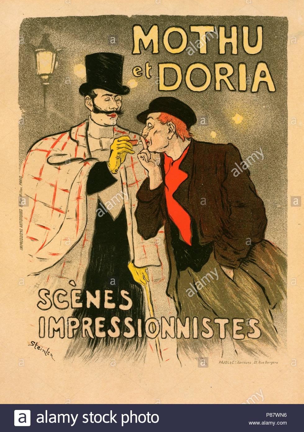 Poster for les Scènes impressionistes, Mothu et Doria. Théophile Alexandre Steinlen, 1859 – 1923, a Swiss-born French Art Nouveau painter and printmaker. - Stock Image