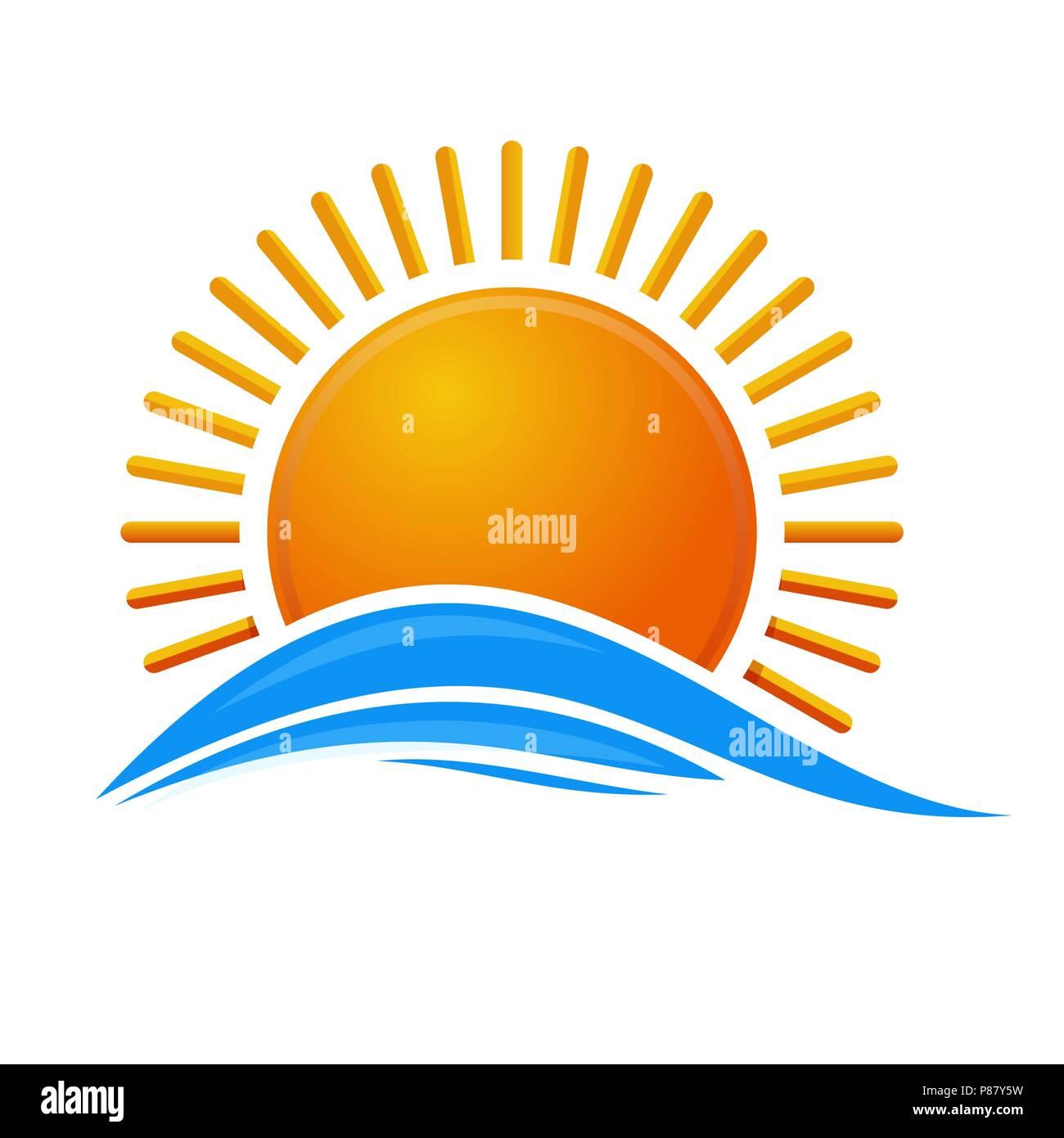 Sun over the sea. Sunrise logo icon. Cartoon sun over sea waves. Vector illustration isolated on white background - Stock Vector