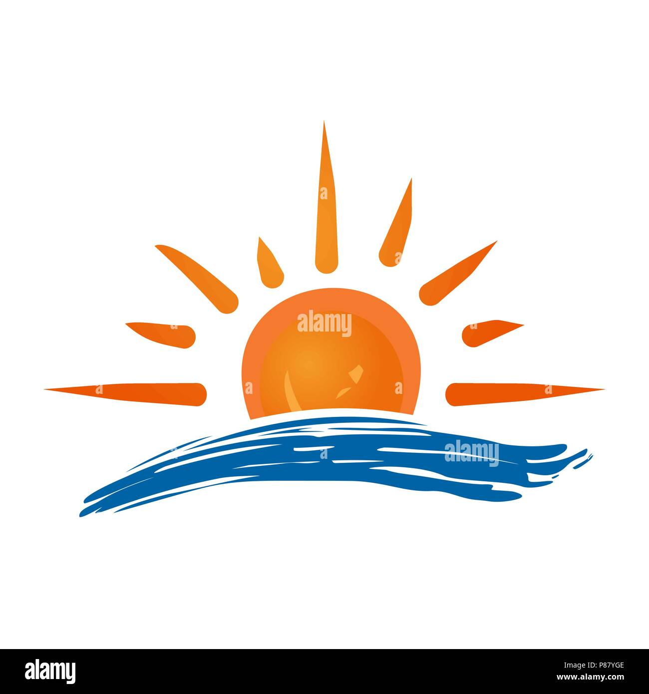 Sun and sea logo icon. Handmade grunge icon isolated on white background.  Sunrise over the sea. Editable vector illustration - Stock Vector