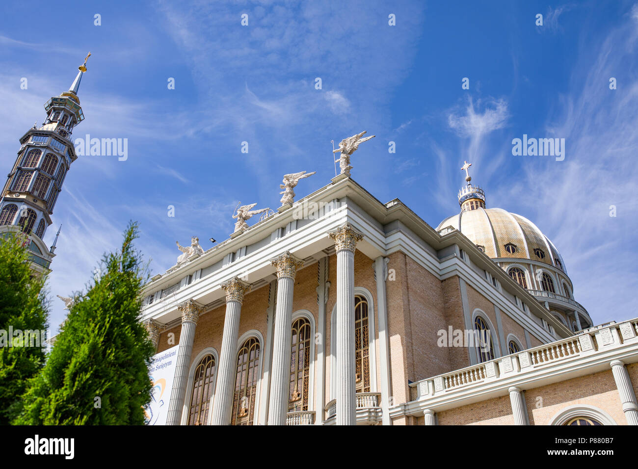 Lichen / Poland - 07.08.2018: the biggest catholic basilica in Poland. Interior of the modern church. - Stock Image