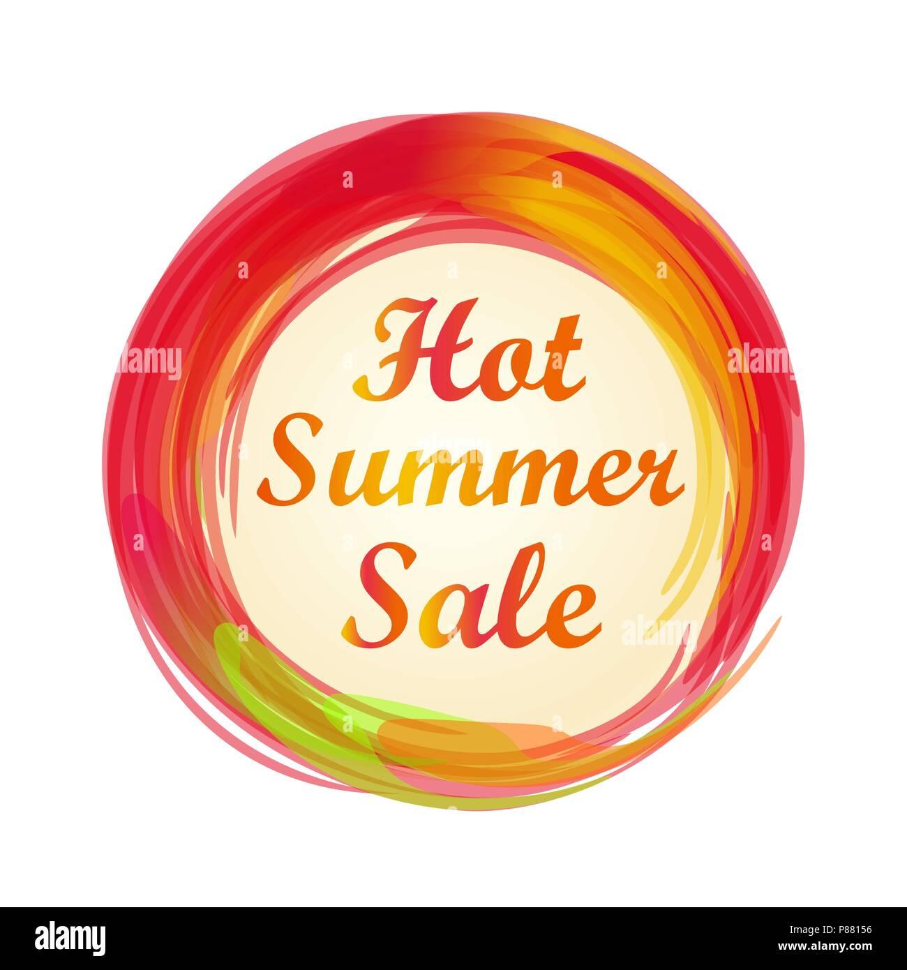 Hot summer sale lettering design. Summer sale banner. Vector illustration - Stock Vector