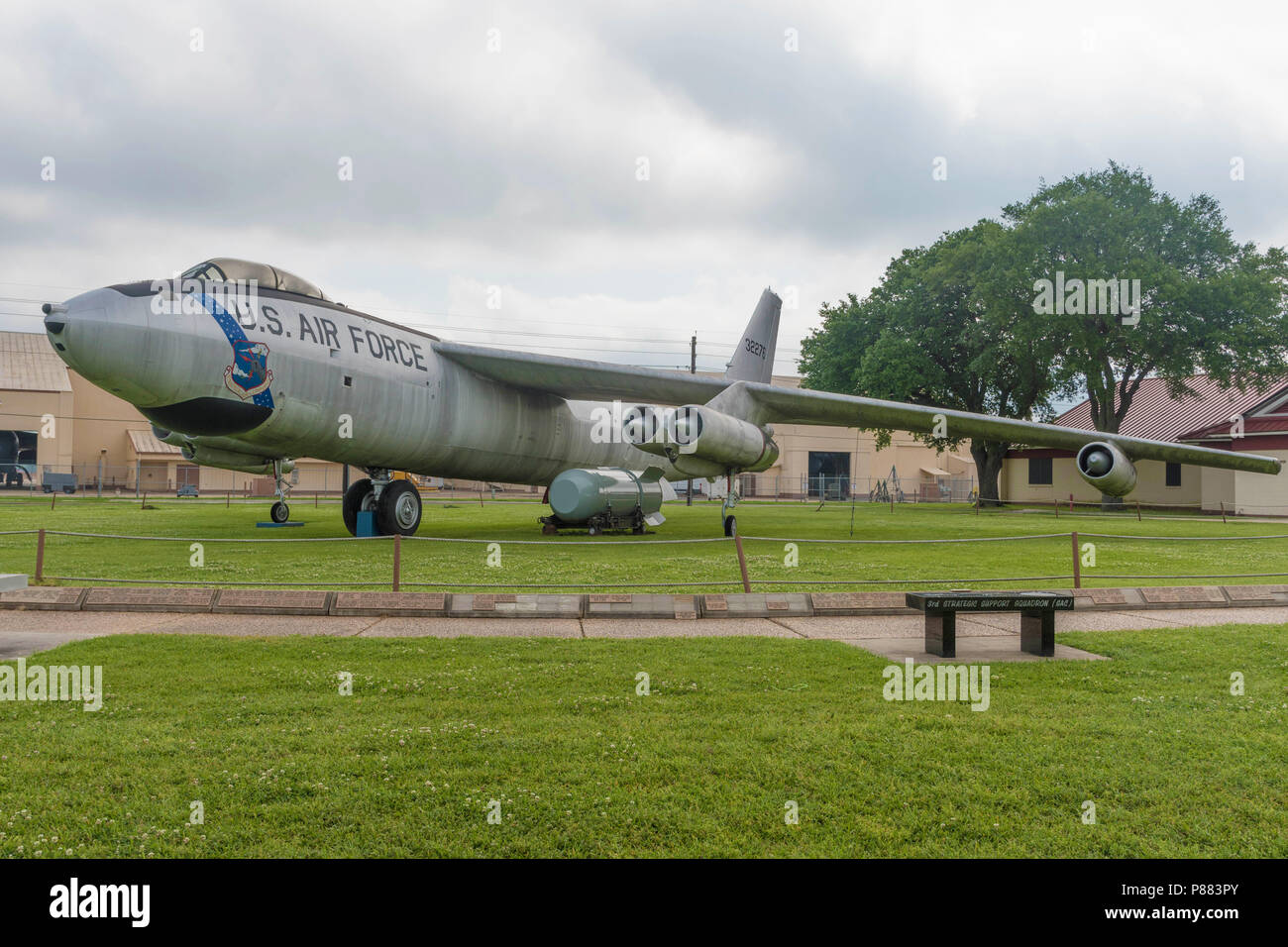 BARKSDALE AIR FORCE BASE. LA, USA, APRIL 12, 2017: A B-47E Bomber is on display at the Barksdale Global Power Museaum. - Stock Image