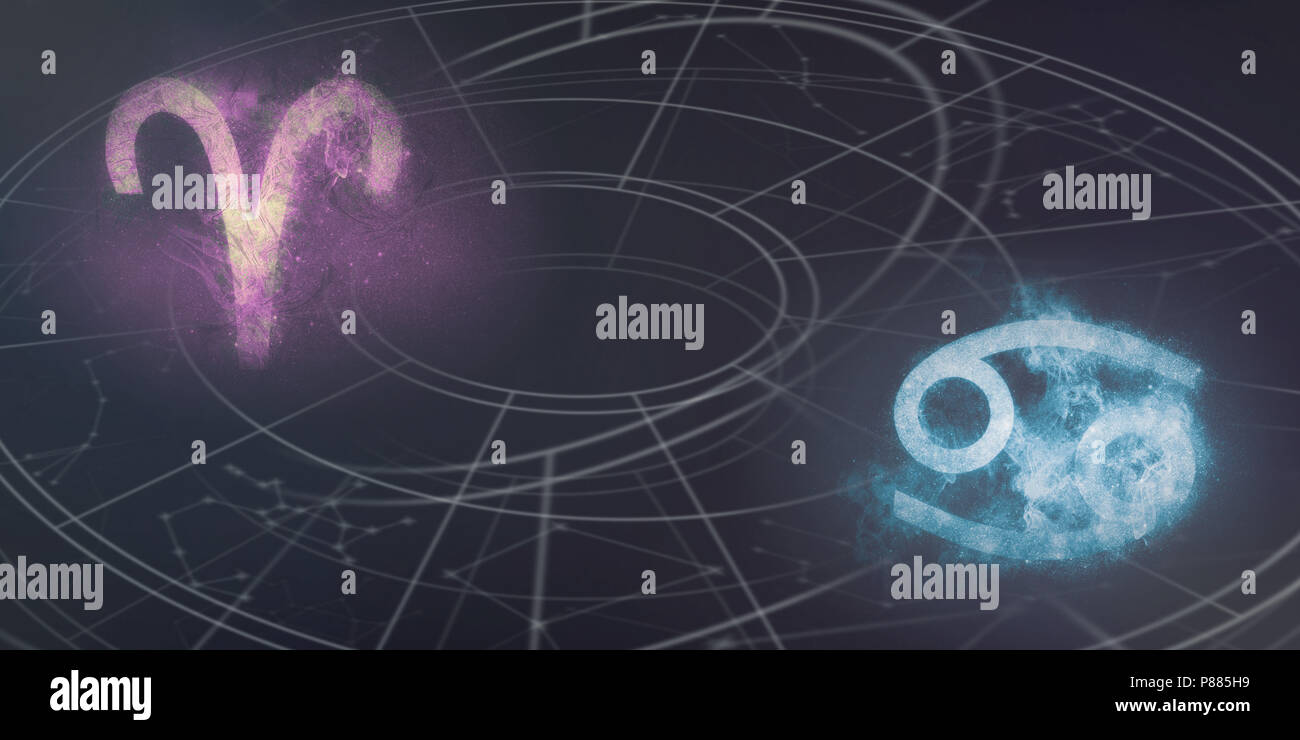Aries And Cancer Horoscope Signs Compatibility Night Sky Abstract