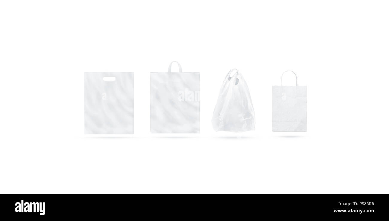 Blank white different types of bag mock up set, isolated, 3d