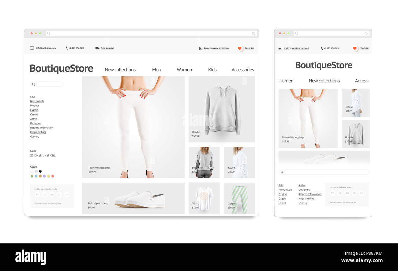 Fashion web store adaptivity template mock up set isolated, 3d ...