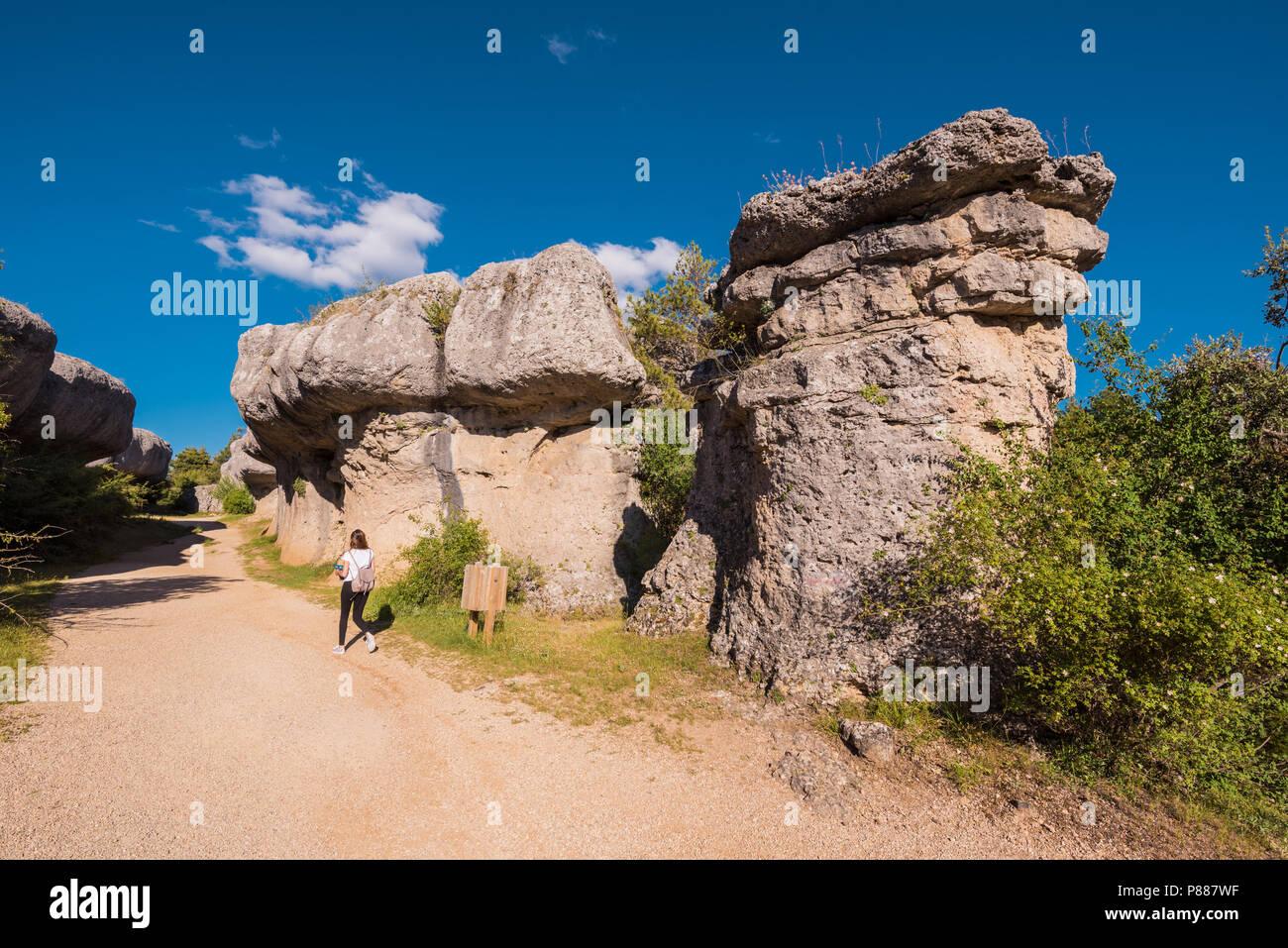 La Ciudad encantada. The enchanted city natural park, group of crapicious forms limestone rocks in Cuenca, Spain. - Stock Image