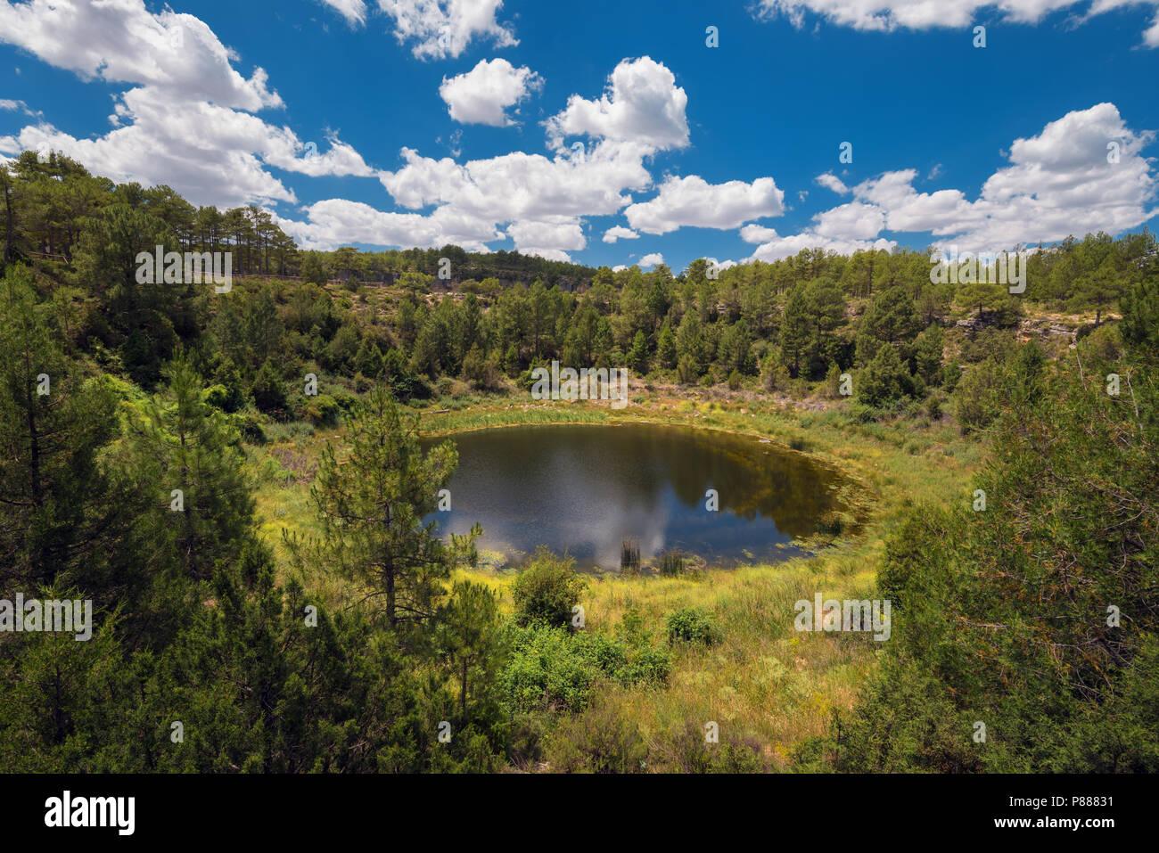 Round lake geologic formation in Cuenca province, Castilla La Mancha, Spain. Stock Photo