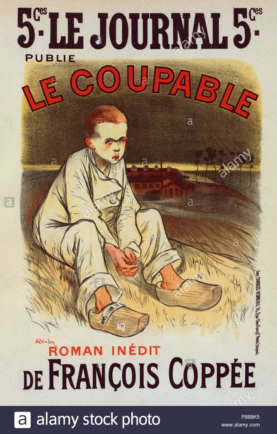 Poster for the book le Coupable, by François Coppée, published by le Journal. Théophile Alexandre Steinlen, frequently referred to as just Steinlen 1859 – 1923, a Swiss-born French Art Nouveau painter and printmaker. - Stock Image