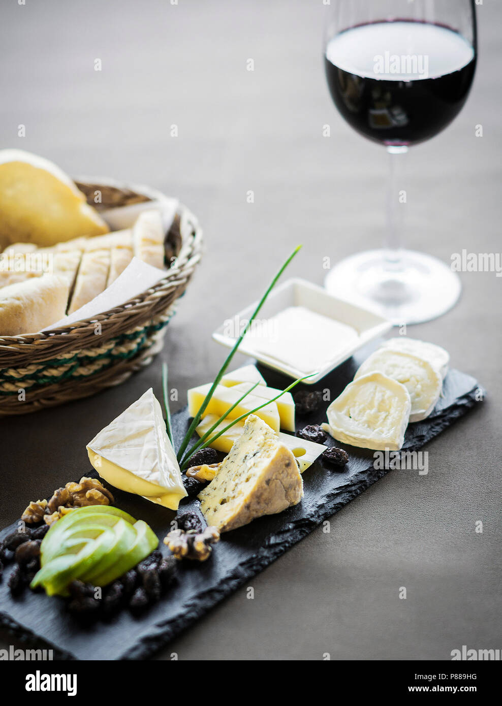 Cheese Bread And Wine Tapas Snack Platter Set On Restaurant Table Stock Photo Alamy