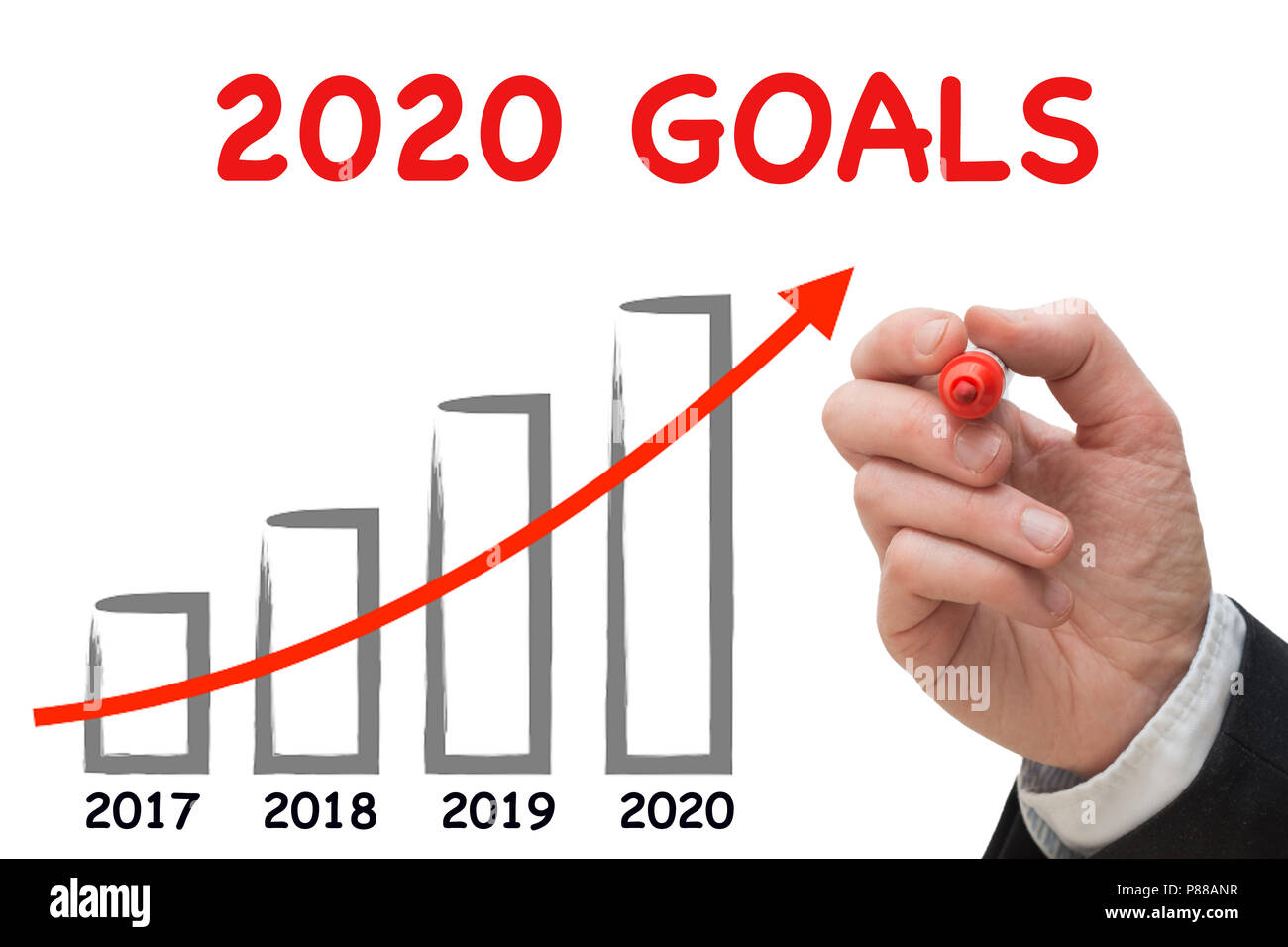 Business 2020.Business Man Drawing Growth Chart For The Year 2020 Stock