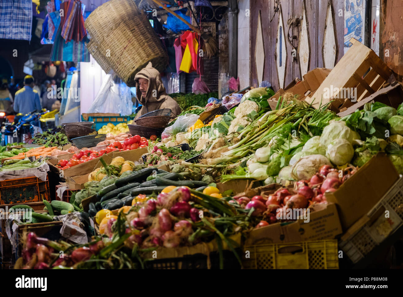 MARRAKESH, MOROCCO - CIRCA APRIL 2017: Vegetable stand shop at the Rue Bab Doukkala in Marrakesh. This is a local area close to the Medina. - Stock Image